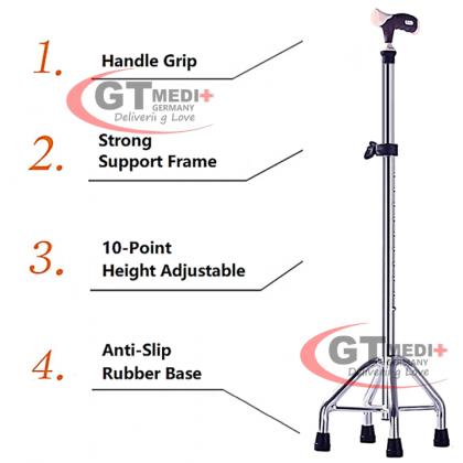 GT MEDIT GERMANY 10 Point Adjustable Height Quad Base Cane Walker Foldable Crutch Walking Aid Mobility Stick / Tongkat