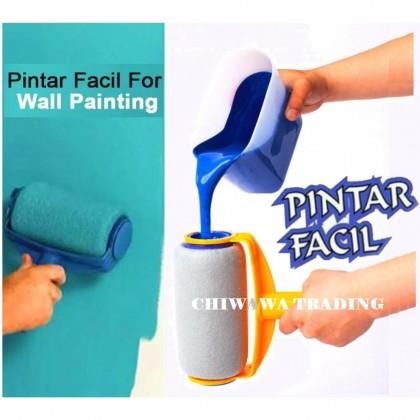 【FREE】Pintar Facil Paint Brush Roller DIY Wall Paintbrush Painting Handle + Measuring Container / Penggelek Berus Cat