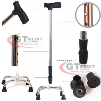 GT MEDIT GERMANY Adjustable Height Quad Base Cane Foldable Crutch Walking Aid Mobility Stick