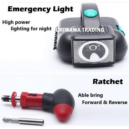 24 Pcs Combination Socket Wrench Flash Light Screwdriver Ratchet Spanner Driver Repair Kit Hand Tool Box
