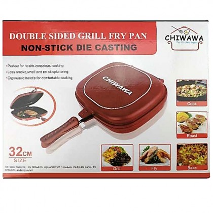 【Free: Recipe Book + Rubber Seal】Happy CHIWAWA Double Sided Grill pan 32cm Call