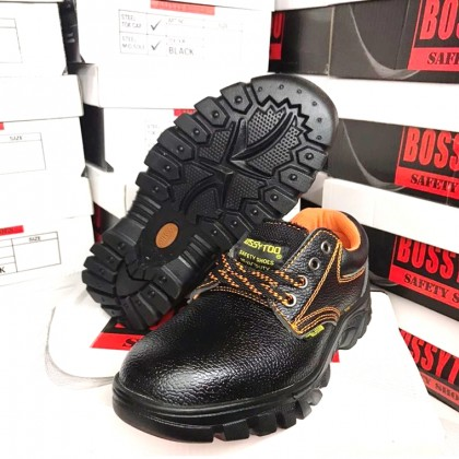 High Quality BOSSYTOO Steel Toe Cap Mid Sole Low Cut Safety Shoe Shoes Kasut Kerja Besi Selamat (Black)