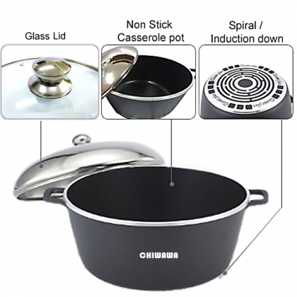 【ORIGINAL】CHIWAWA ITALY 23 Pcs Die Cast Aluminium Non Stick Casserole Pot Bowl Double Side Pan Cookware Tool with Cover