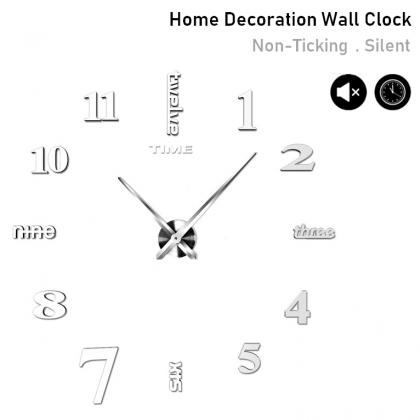 Silent Non-Ticking Modern 3D DIY Horloge Wall Clock Home Office Living Room / Jam Dinding