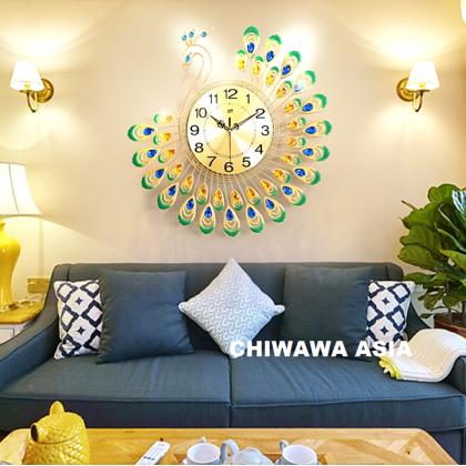 Silent Non-Ticking Modern 3D Peacock DIY Horloge Wall Clock Home Office Living Room / Jam Dinding
