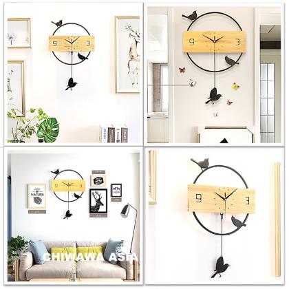 Silent Non-Ticking Modern 3D Wooden DIY Horloge Wall Clock Home Office Living Room / Jam Dinding
