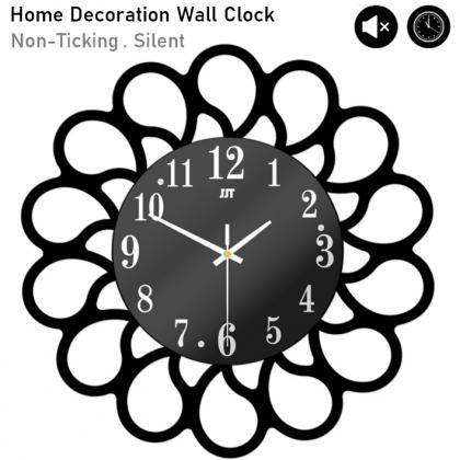 Silent Non-Ticking Modern 3D Flower DIY Horloge Wall Clock Home Office Living Room / Jam Dinding