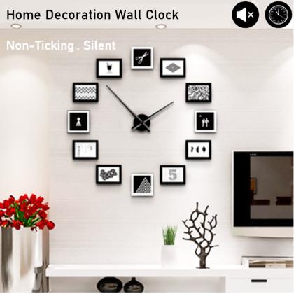 Silent Non-Ticking Modern 3D Photo Frame DIY Horloge Wall Clock Home Office Living Room / Jam Dinding
