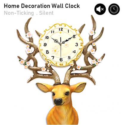 Silent Non-Ticking Modern 3D Deer DIY Horloge Wall Clock Home Office Living Room / Jam Dinding
