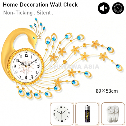 Silent Non-Ticking Modern 3D Peacock DIY Horloge Wall Clock Home Office Living Room / Jam Dinding