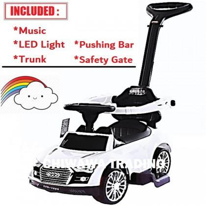 KIDB【Music + LED Headlamp】Kids Scooter Motor Balance Bike Riding Toy Bicycle Tricycle Walker Stroller with Pushing Bar