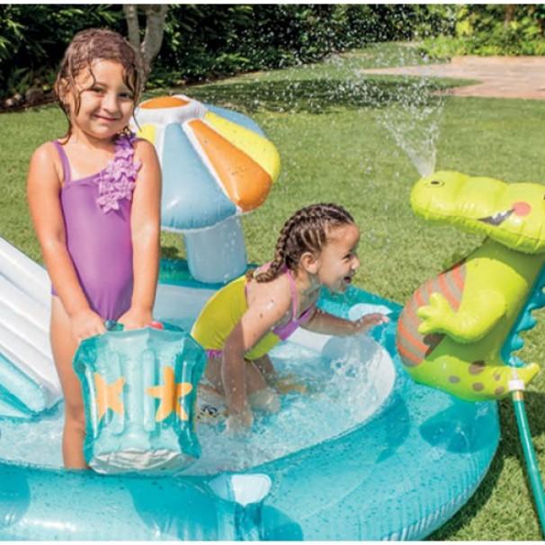 PROMOTION 57165 Inflatable Swimming Pool Playground Slide Lifebuoy Fishing Toy Water Sprayer PVC Bath KOLAM KANAK