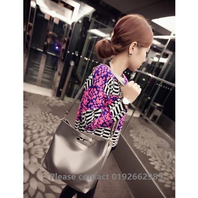 1003-Silver Korean Fashion Style PU Leather Solid Handbag