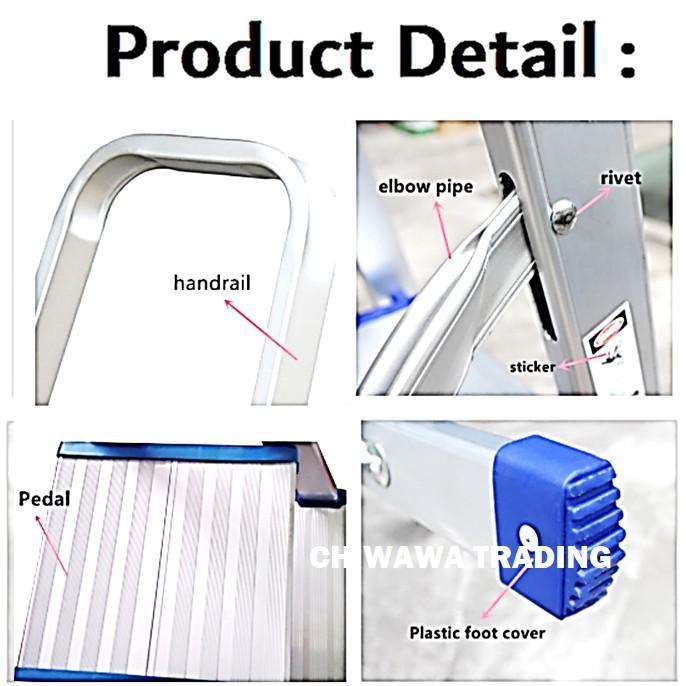 ( LD8 ) 7 Steps Household Commercial Foldable Steel Ladder / Tangga