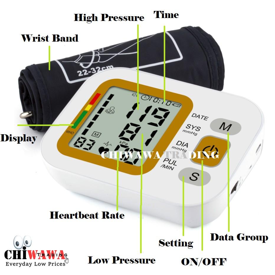 LCD ScreenArm Blood Pressure Pulse Heart Beat Monitor Sphygmomanometer