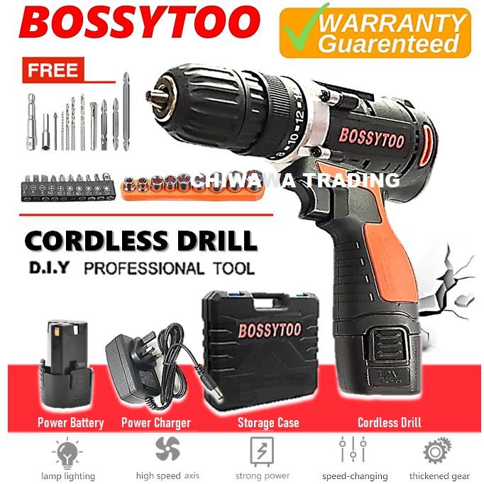 BOSSYTOO CDSS12 12V Li-Ion Battery Cordless Drill Speed Drilling Screw Driver Power Tool + LED Light + 12Pcs Shaft Bits
