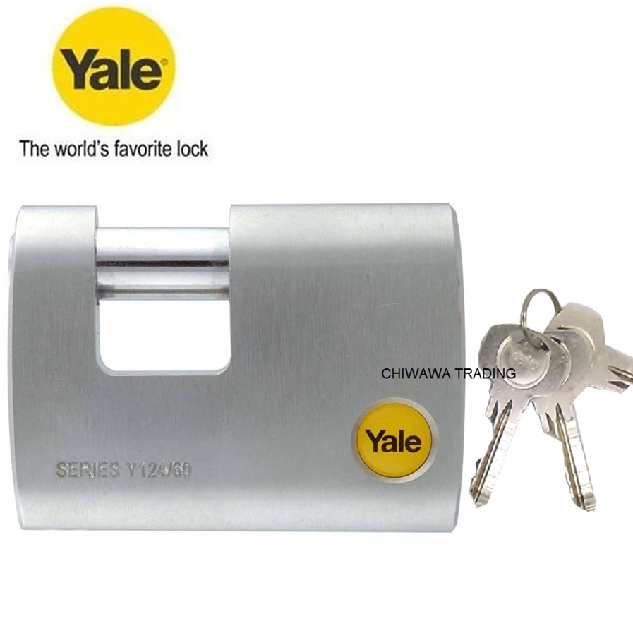 Yale Y124/70/115/1 Brass Rectangular Padlock with Boron Steel Shackle 70mm Kunci