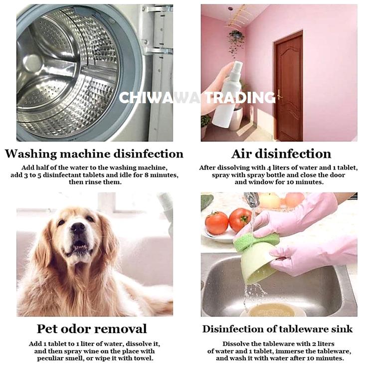 100 Tablet Chlorine Dioxide Germs Disinfectant Effervescent Tablets Sanitizer Sanitiser Antibacterial Kill Virus Kuman
