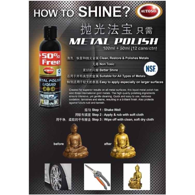 AUTOSOL Metal Polish Liquid(+50% Free) -150ML