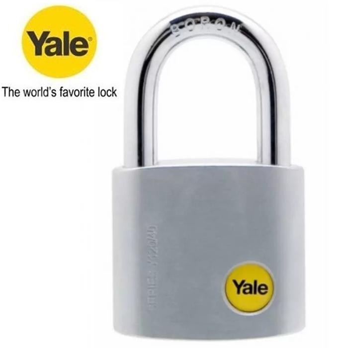 Yale Y120/50/127/2 Silver Series Outdoor Brass / Satin Chrome Padlock Keyed Alike System 50mm (2 Pcs)