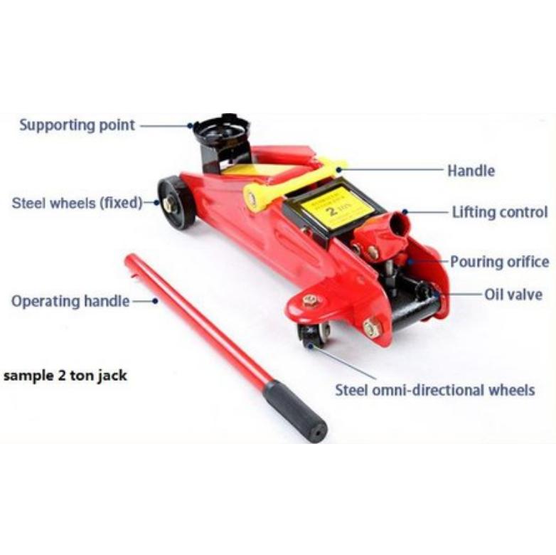 2 Ton Heavy Duty Hydraulic Floor Jack Trolley Automotive Car Van Truck SUV Emergency Kit Set