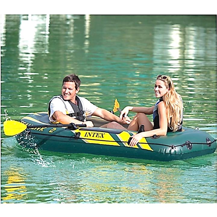 PROMOTION 68347 INTEX SEAHAWK 2 Inflatable 2 - 3 Person Swimming Fishing PVC Boat Canoeing + Paddles + Pump / Kayak