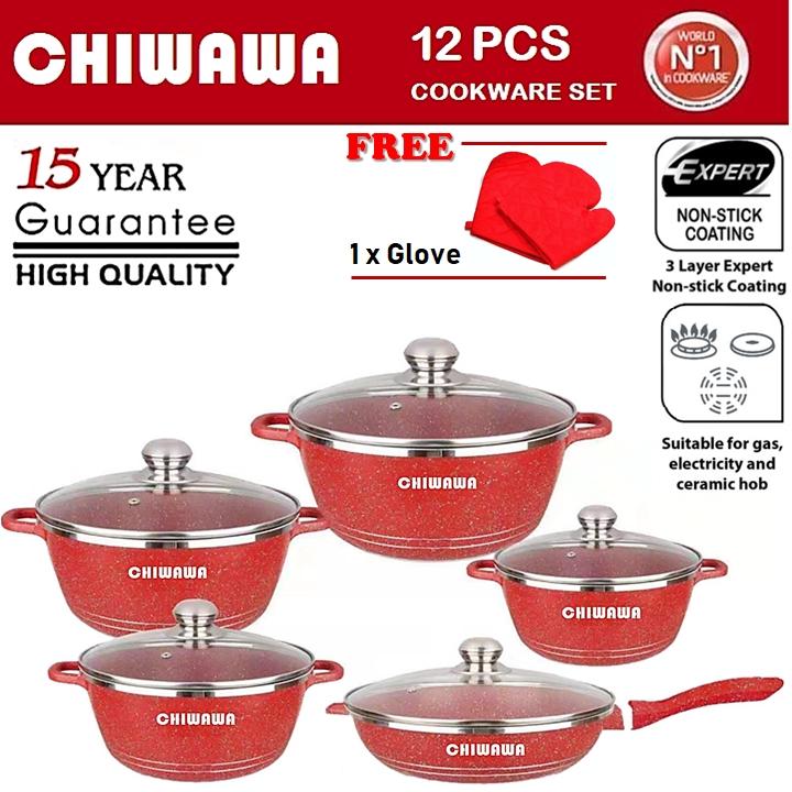 ORIGINALCHIWAWA ITALY 12 Pcs Granite Aluminium Non Stick Casserole Pot Bowl Deep Fry Pan Cookware Tool dessini 12pcs
