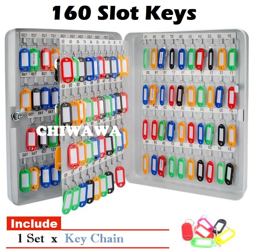 160 Keys Organizer Metal Box Lockable Security Key Cabinet / Storage Box