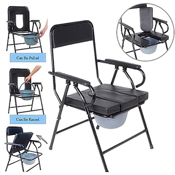 Aluminium Foldable Commode Chair Bath Shower Mobile Potty Toilet Seat / Tandas Kerusi
