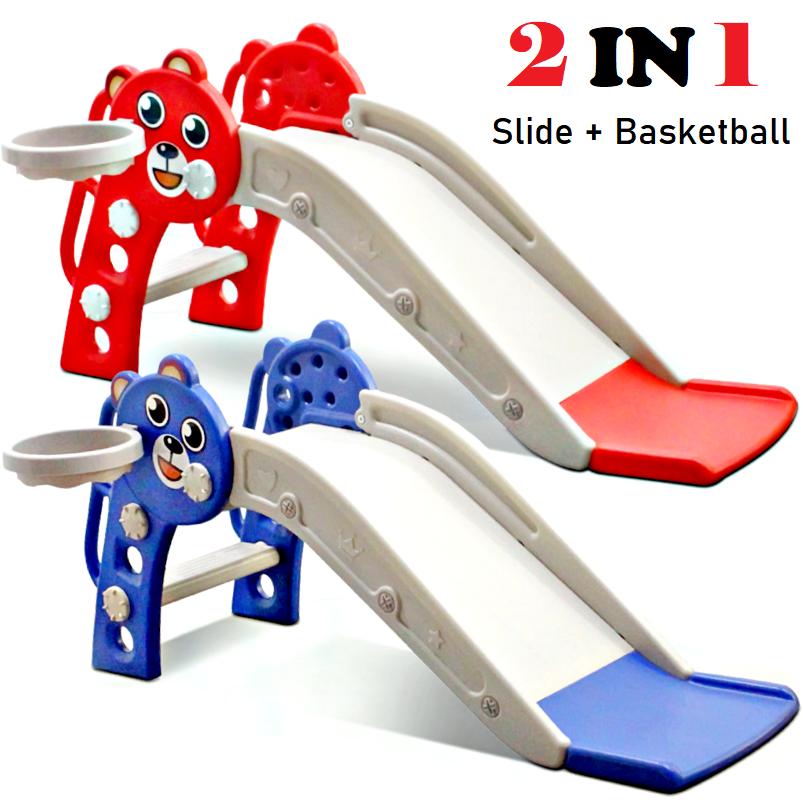 Extra Big Safety & Stability Kid Indoor Home Playground Slide Basketball Permainan Papan Gelongsor