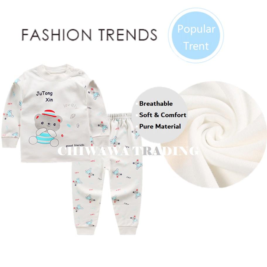 2 Pcs 100% Cotton Kid Clothes Long Sleeve T Shirt Top + Pants Clothing Suit