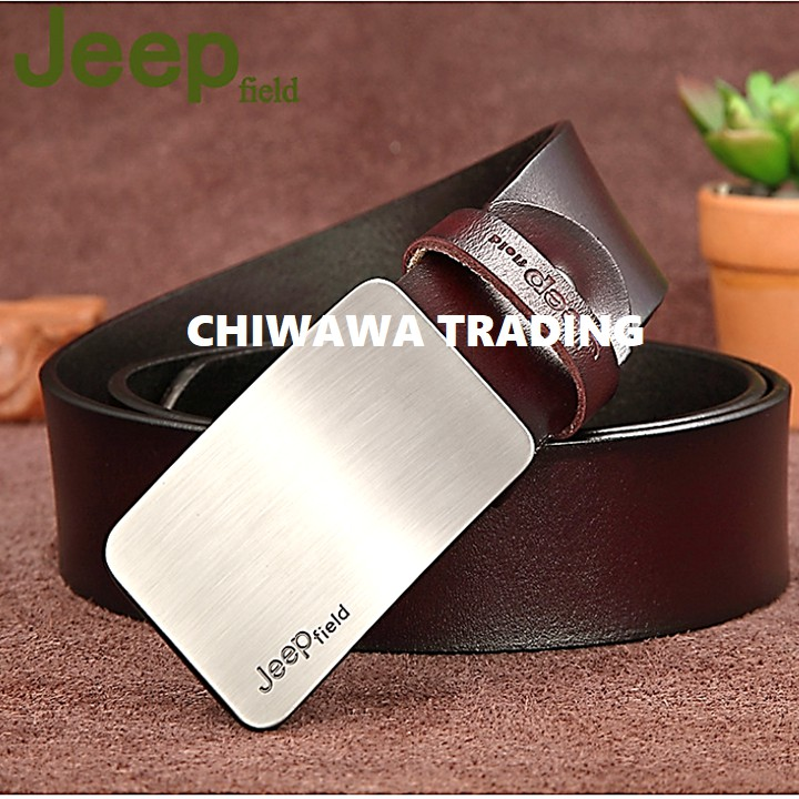 JEEP 100% Top Cow Buckle Genuine Leather Luxury Men's Belt Pronged Pin Strap